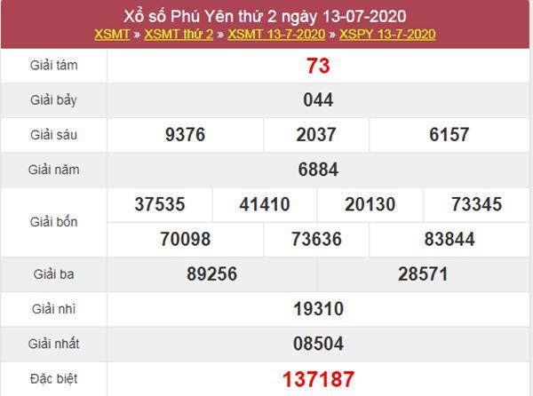 Thống kê XSPY 20/7/2020 chốt KQXS Phú Yên thứ 2