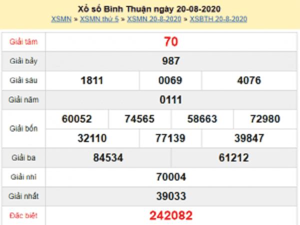 Soi cầu bạch thủ KQXSBT- xổ số bình thuận thứ 5 ngày 27/08/2020